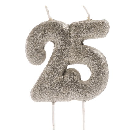 25 år tårtljus i silver