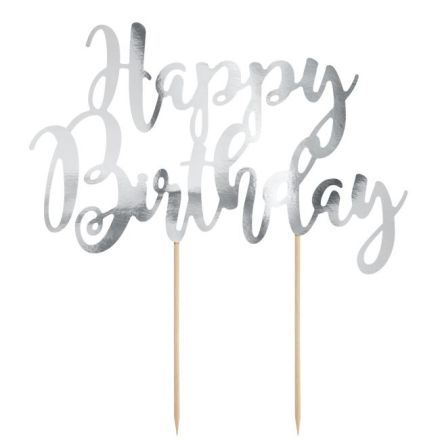 Cake Topper Happy Birthday, silver