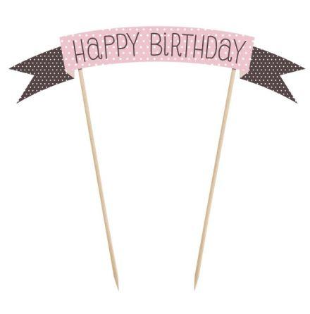 Cake Topper Happy Birthday, rosa