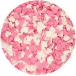 Hearts Pink/White Strössel