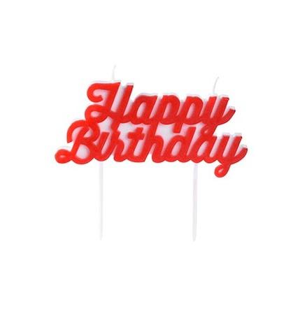 Happy Birthday tårtljus, röd