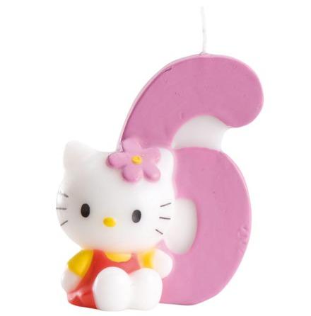 6 år tårtljus med Hello Kitty
