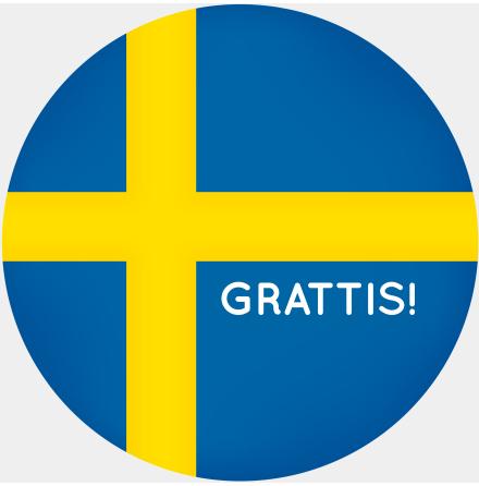 Grattis Sverige ätbar tårtbild, sockeroblat