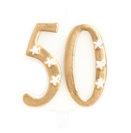 50 år tårtljus i guld