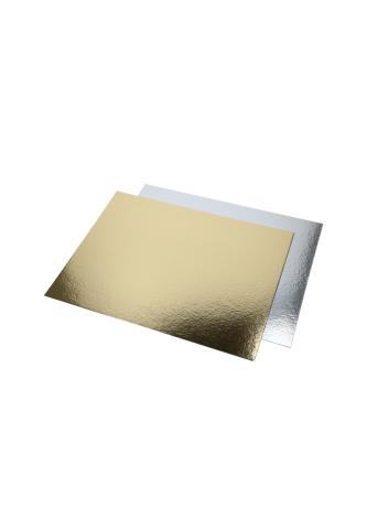 Tårtbricka, rektangulär guld och silver