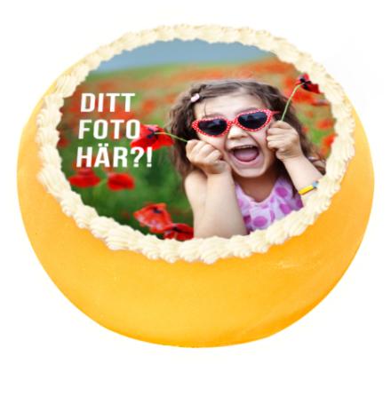 Rund ätbar tårtbild eget motiv ø 19 cm, sockeroblat