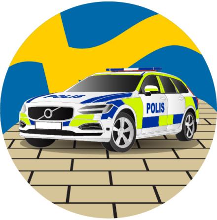 Polisbil, rund ätbar tårtbild
