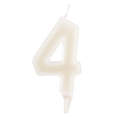 4 år fluorescerande tårtljus, vit