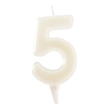 5 år fluorescerande tårtljus, vit