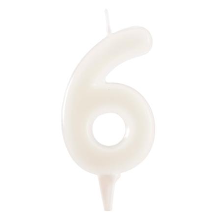 6 år fluorescerande tårtljus, vit