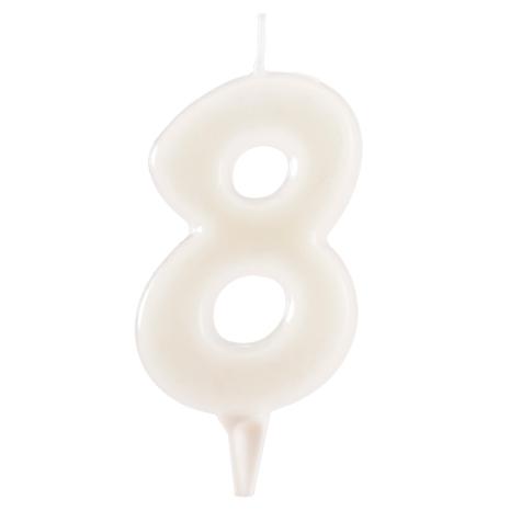 8 år fluorescerande tårtljus, vit