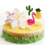 Tårtljus, 6 st med Flamingo, Ananas och Kaktus