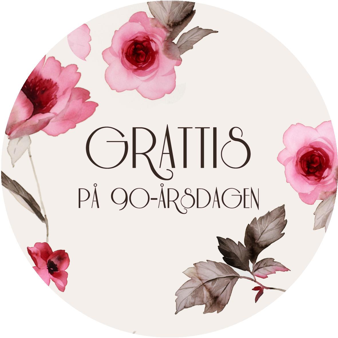 grattis på 90 årsdagen 90 år rosa blommor grattis på 90 årsdagen